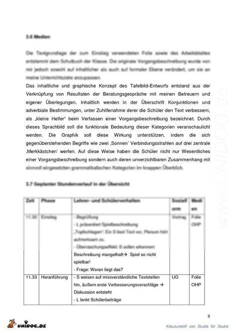 Vorgangsbeschreibung Praktikum Vorlage Unidog Praktikumsbericht Vorgangsbeschreibung 6 Klasse