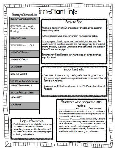 sub plans template sub plan template classroom organization