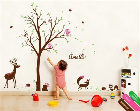 Removable Wall Stickers For Baby Room nursery wall tree decals murals with deer fox