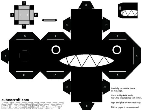 Black And White Papercraft - chain chomp mario cubeecraft papercraft by