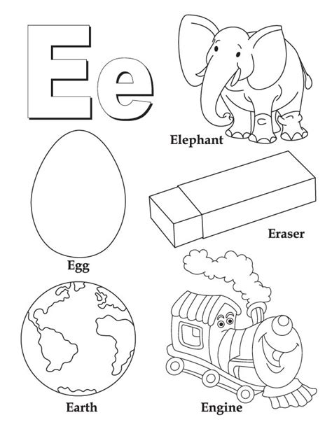 color beginning with e letter e coloring pages to and print for free