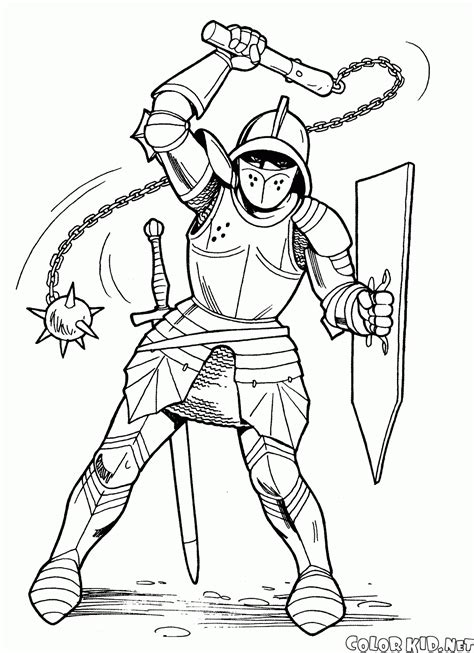 coloring book pages knights coloring page with mace