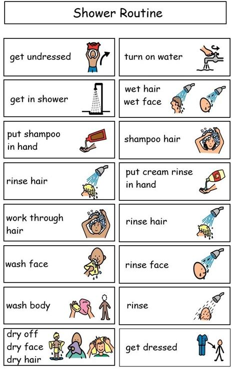 bathroom routine visuals sle shower mini schedule visuals pinterest the o