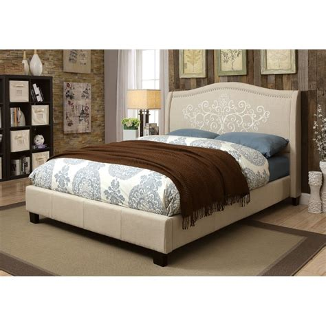 furniture of america dania embroidered bed in gray