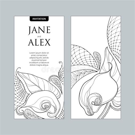 Vector Wedding Invitation With Outline Bouquet Calla Lily Flower Or Zantedeschia In Black And Free Calla Wedding Program Templates