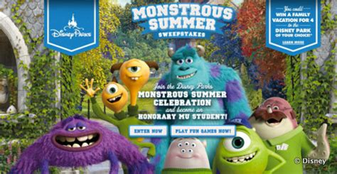 New Sweepstakes To Win A Disney Vacation - enter the monstrous summer sweepstakes to win a vacation to walt disney world or