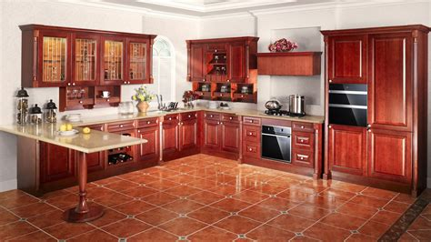 High quality solid wood walnut kitchen cabinets, 3D design