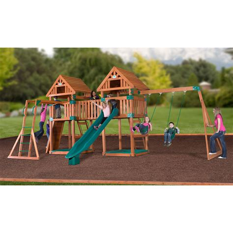 Backyard Discovery Cedar Swing Set Backyard Discovery 54373com Peak Cedar Swing Set