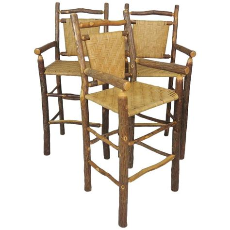 Wicker Stools For Sale three faux log and wicker bar stools for sale at 1stdibs