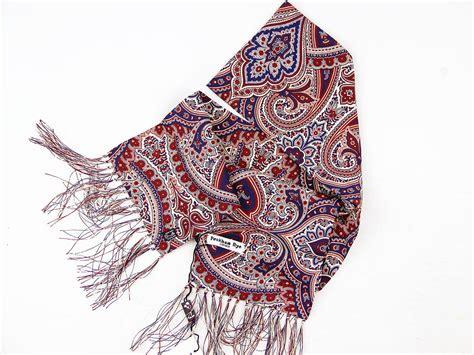peckham rye baroque paisley retro mod silk scarf navy