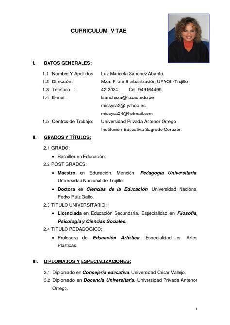 modelo de curriculum vitae simple peru modelo de
