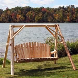 wooden swing cedar log outdoor yard patio porch c