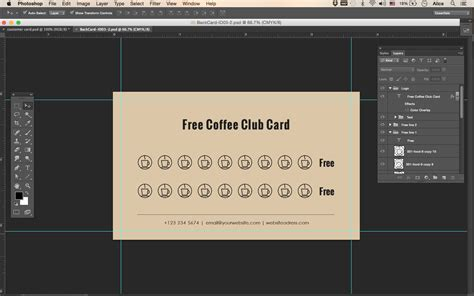 coffee loyalty card template free premade business card template name card template