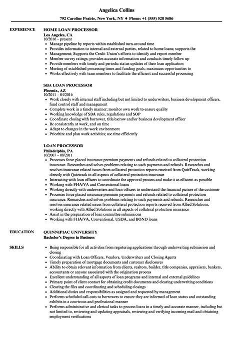 Loan Processor Resume by Loan Processor Resume Sles Velvet