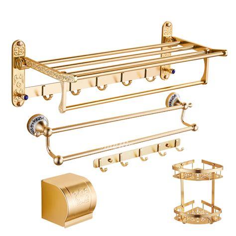 Polished Brass Bathroom Accessories Bathroom Accessories Gold Set Polished Brass Wall Mount Aluminum
