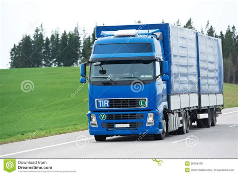 blue trailer blue lorry with trailer blue sky royalty free stock