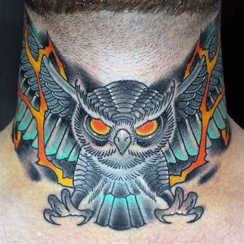 owl tattoo throat 80 throat tattoos for men cool masculine design ideas
