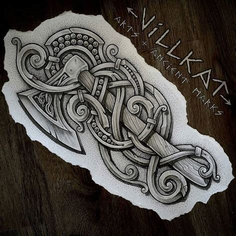 authentic viking tattoo designs dotwork photo desing