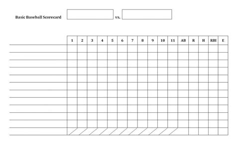 baseball score cards templates baseball scorecard template