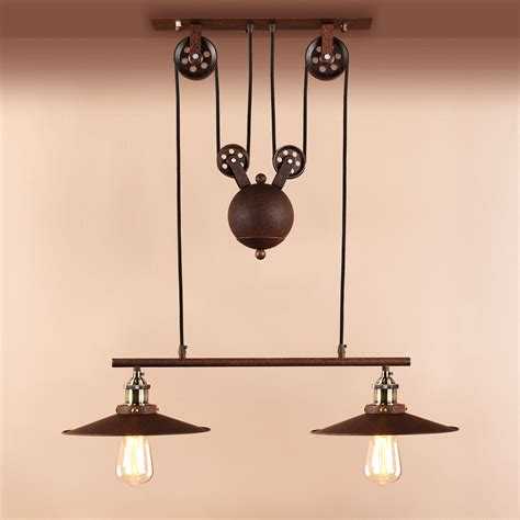 Vintage Pendant Light Retro Hanging Ceiling Light Vintage Industrial Pendant Retractable Pulley L 163 49 90