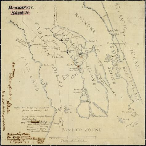 Roanoke Records File Sketch Of The At Roanoke Island N C February 8 1862 Showing