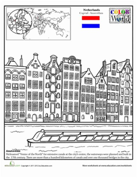 coloring pages of places around the world color the world amsterdam coloring page education com