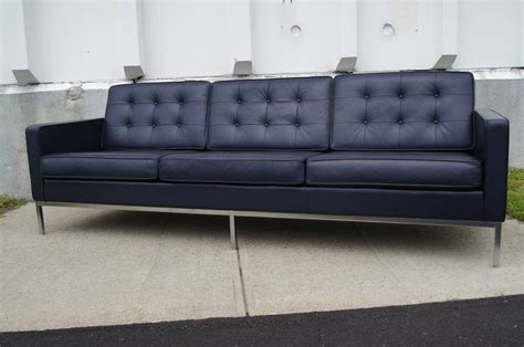 blue leather sofa by florence knoll at 1stdibs