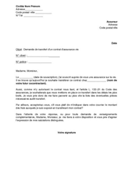 lettre de demande de transfert d une assurance vie mod 232 le de lettre gratuit exemple de lettre
