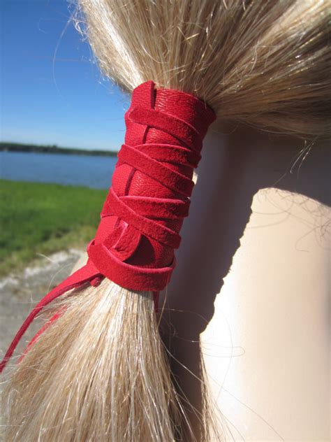 leather hair band ponytail wrap ponytail holder hair tie hair ties leather ponytail holder red hair wrap by
