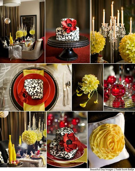 Black, white, red with pops of yellow tabletop design of