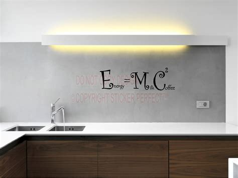 kitchen wall quote stickers energy equals milk plus coffee squared e mc2 kitchen vinyl wall decals quotes sayings