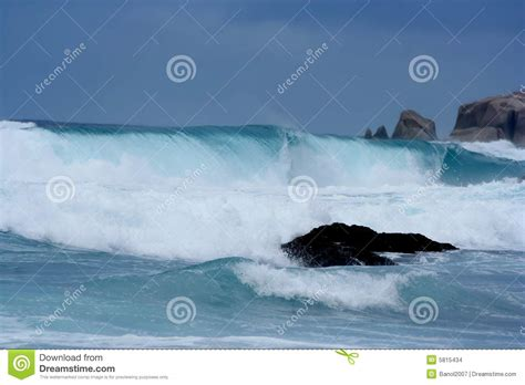 rainstorm giant waves tsunami close  stock images