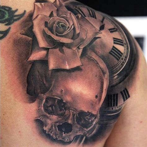 rose skull clock tattoo ink pinterest clock tattoos
