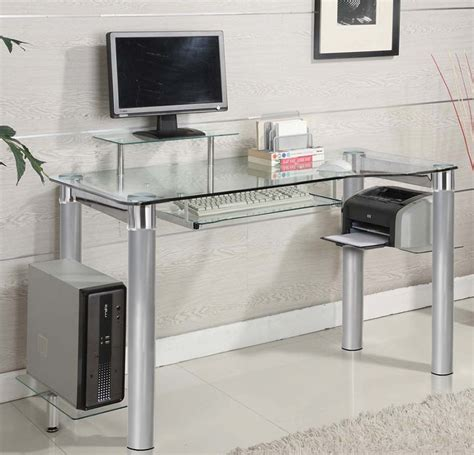 Raised Computer Desk Saturn Tempered Glass And Metal 47 2 W X 33 4 H Computer Desk With Raised Monitor Platform