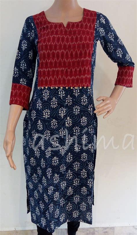 design pattern kurti code 1111164 cotton kurti with ikkat yoke price inr
