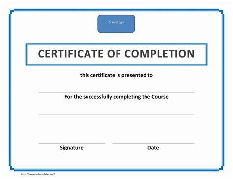 free certificate of completion template word certificate of completion