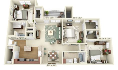 apartments 3 bedroom three bedroom the retreat at spring creek luxury