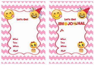9 Cute Emoji Birthday Invitations Kitty Baby Love Emoji Birthday Card Template