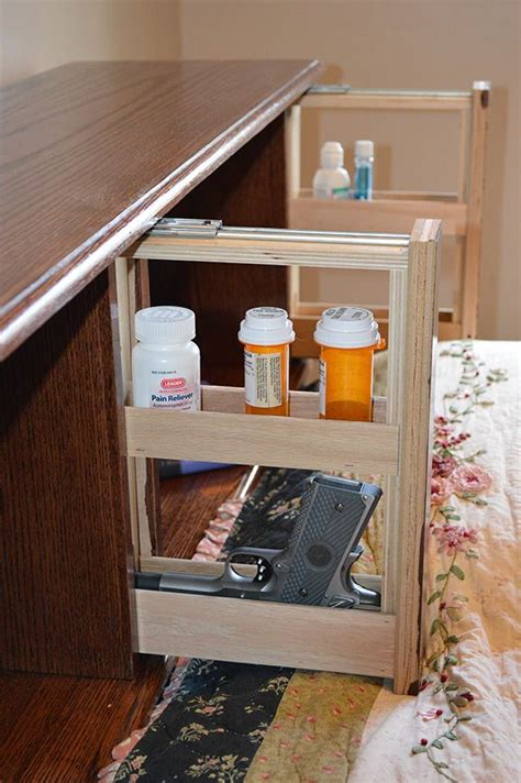 covert furniture bed headboard  hidden gun storage