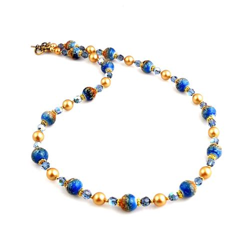 gold beaded jewelry blue and gold beaded lwork necklace lwork jewelry