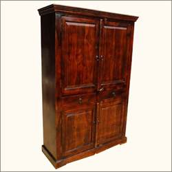 Wood Armoire Solid Wood Mahogany Clothes Wardrobe Drawer Armoire Indian
