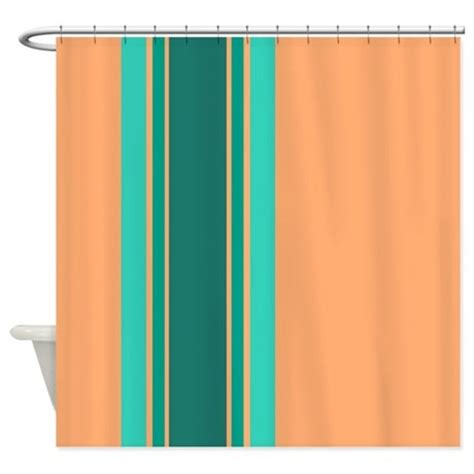 peach colored drapes teal stripes on peach shower curtain by jqdesigns