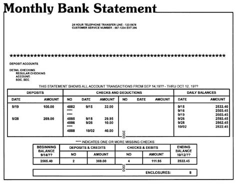 blank bank statement account