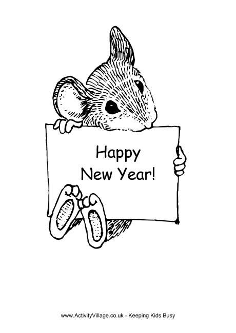 new year and rat happy new year of the rat colouring page