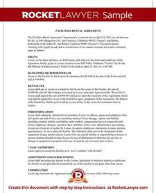 Facilities Rental Agreement Template by Event Rental Agreement Template Facilities Rental Agreement