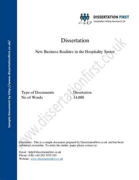 dissertation business dissertation new business realities in the hospitality