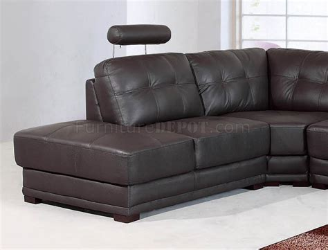 Dark Brown Leather Modern Sectional Sofa W Adjustable Brown Modern Sofa