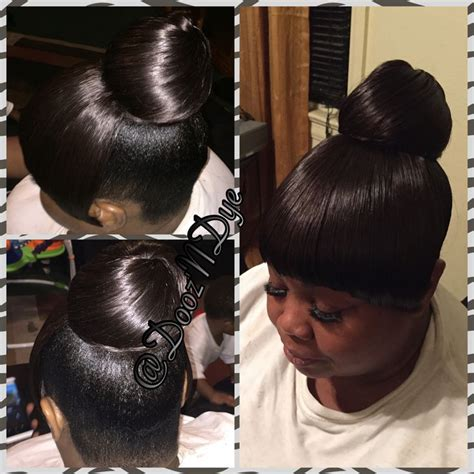 images of black braided bunstyle with bangs in back hairstyle hairstyles for black women black haircare updo bun