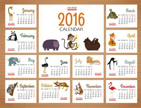 Calendar Animals 2016 Calendars With Animal Vector Vector Animal