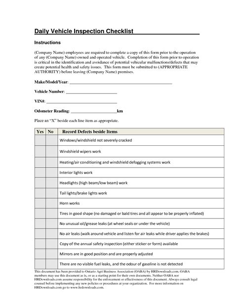 daily vehicle inspection checklist template